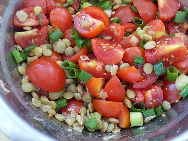 סלט עגבניות שרי, עדשים ירוקות ובצל ירוק מתוך פשוט מבשלת
